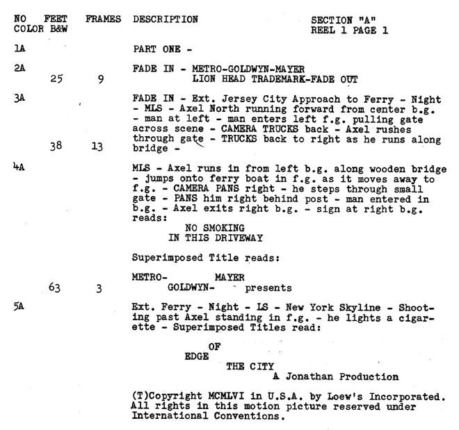 IMAGE: Edge of the City (1957) Shooting Script Excerpt
