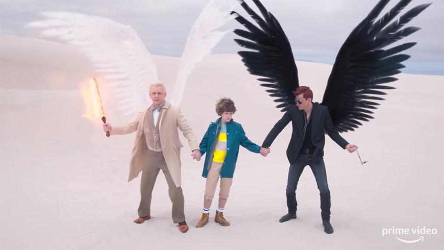 IMAGE: Still - Aziraphale, Adam, Crowley