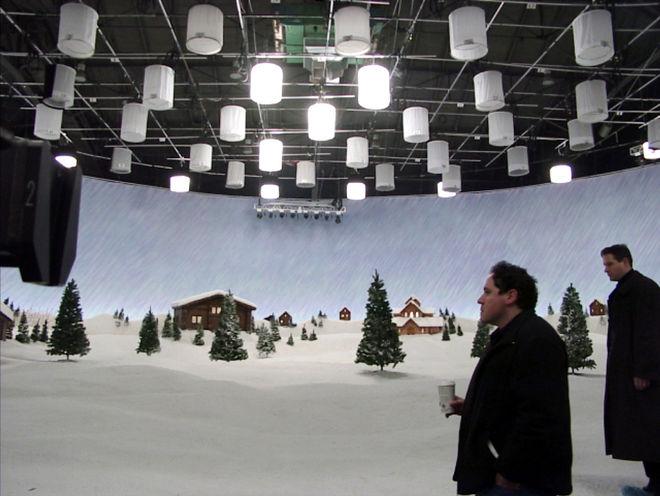 IMAGE: Jon Favreau on North Pole set in Vancouver