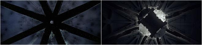 IMAGE: 2001 lunar landing scene and Semi-Perm bay doors comparison