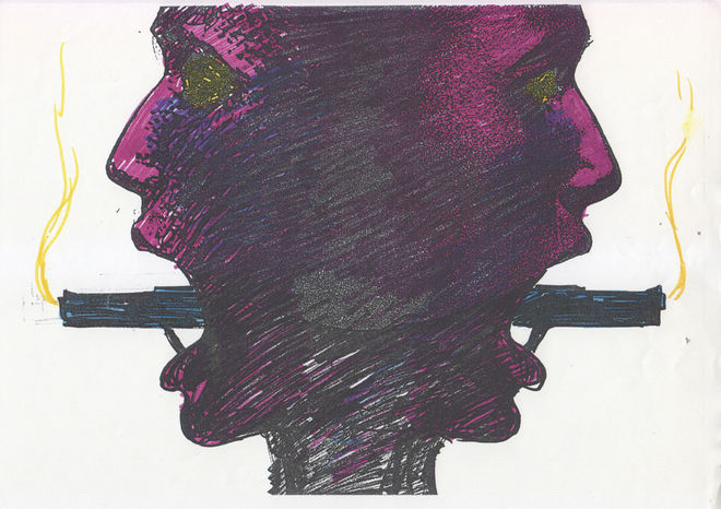 IMAGE: Sketch - twoface with colour