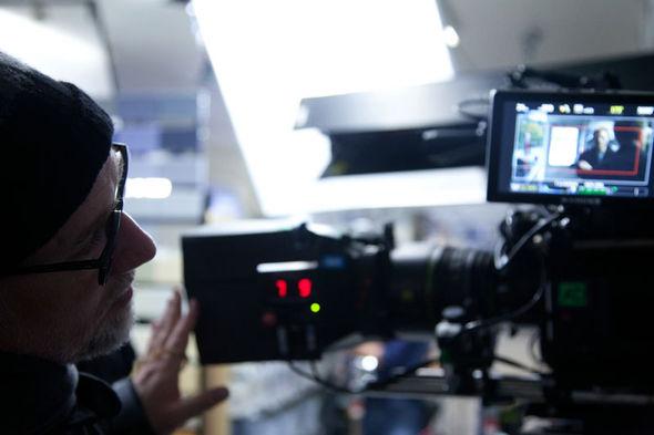 Director David Fincher on location