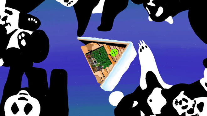 IMAGE: Still –A-frame floating with pandas
