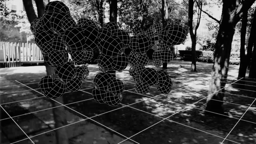 IMAGE: Still –Making-of –Bubble guys wireframes among trees