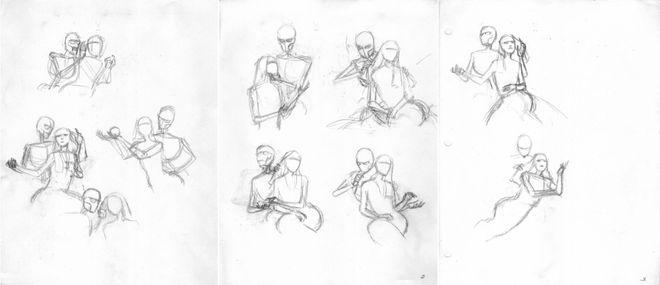 IMAGE: skeleton/bride sketches