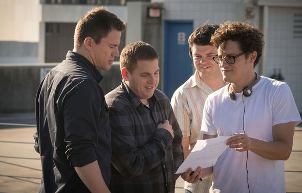 """Image: Christopher Miller and director Phil Lord on the set of """"22 Jump Street"""""""