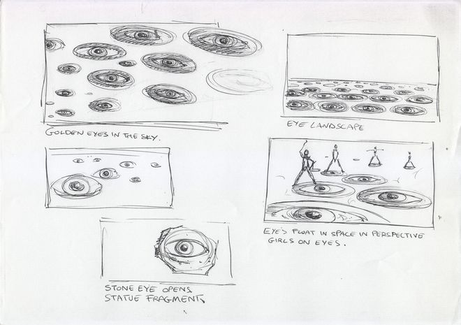IMAGE: Sketch - unused golden eyes floating