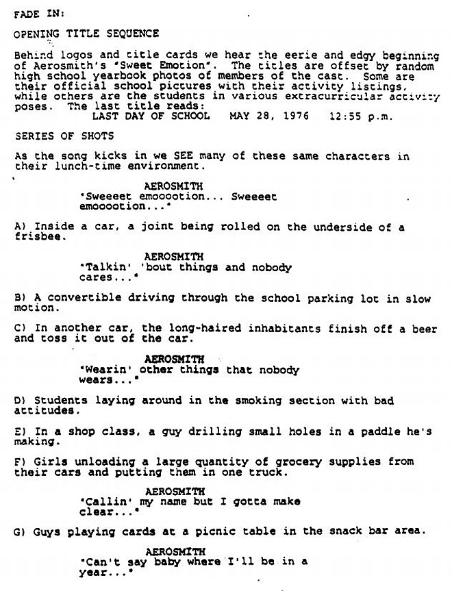 IMAGE: Dazed and Confused Script Excerpt