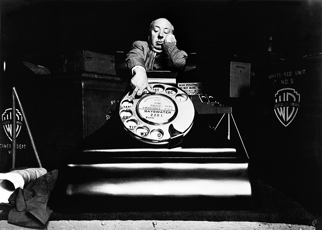 IMAGE: Hitchcock with phone