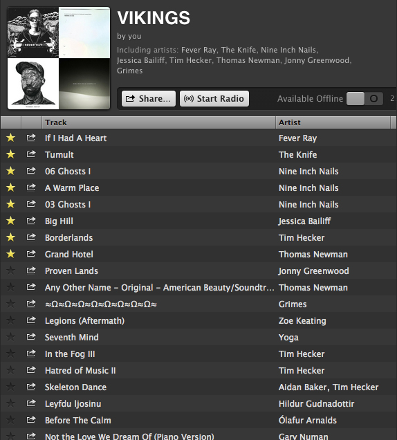 IMAGE: Vikings Spotify playlist